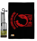 Red POW/MIA Burlap Garden Flag Service Armed Forces Gift Yard House Banner