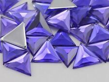 13mm Violet .VT Flat Back Triangle Acrylic Gemstones - 50 Pieces