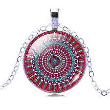 Kaleidoscope Buddhism Mandala Glass Cabochon Fashion Pendant Necklace