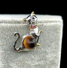 Broche Colgante Gato Siamés con Rubí y Ojo de Tigre 1ª Calidad. Plata ley .925