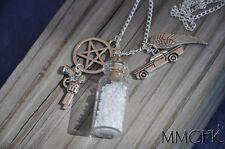 Supernatural Mojo Necklace-Salt Vial Demon Colt Pentagram Angel Wing Metallicar