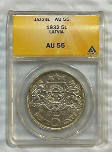 1932 Latvia 5 Lati Silver Coin ANACS AU55 ~~ Low Mintage ~~  KM#9