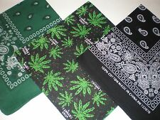 PAISLEY AND CANNaBiS DESIGN SCARVES AND BANDANNAS, 100% COTTON, GREEN, BLACK