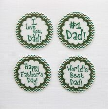 12 PRE CUT EDIBLE RICE WAFER PAPER CARD FATHERS DAY CAKE CUPCAKE PARTY TOPPERS