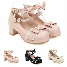 Ladies Girls Cosplay Bowknot Lolita Buckle Strap Dance Shoes Pumps 3 Colors B