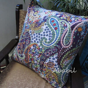 "24"" Large Cotton Home Decorative Printed Pillow Cover Kantha Work Cushion Covers"