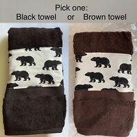 Black Bear - Luxury Brown or Black Hand Towel - handmade accent