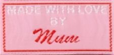 25 Craft Labels for Clothing Woven - Pink - Mum