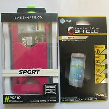 Case-Mate Samsung Galaxy S5 Active Pink Gray Sport Pop ID Case w'ZAGG Screen NIB