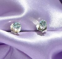 3MM PETITE  ROUND AQUAMARINE  EARRINGS IN .925 STERLING SILVER