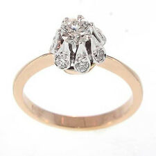 RUSSIAN JEWELRY 14K ROSE & WHITE GOLD DIAMOND STYLE RING Sizes 4 to 9.5 #R730.