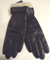 Ladies Women's Shearling Cuff Trimmed Genuine Leather Thinsulate Gloves,M, Black