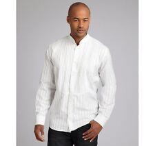 Hickey Freeman Ivory Striped Cotton Pleated Tuxedo Shirt Size Small NWT