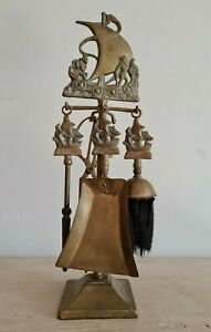 Antico set attrezzi da camino 4 accessori in ottone del I° 900