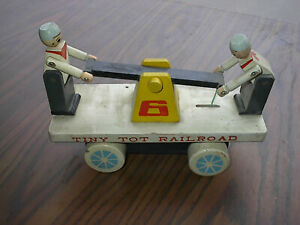 Tiny Tot Railroad, Antique Toy Handcar, Wooden, Painted Original, Used Condition