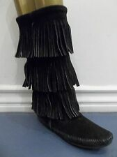 MINNETONKA MOCCASIN 1639 WOMENS BLACK SUEDE CALF HI 3 LAYER FRINGE BOOTS 6