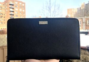 KATE SPADE Laurel Way TALLA Extra Large Travel Wallet Black Leather New NWT $229