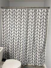 Modern Black & White Fabric Shower Curtain