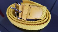 Cintura Gialla 115 Uomo Elastica Intrecciata Casual Elegante Fibia Argento
