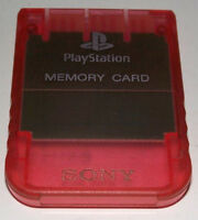 Clear Red Genuine Sony PS1 Memory Card PlayStation 1 1MB Original