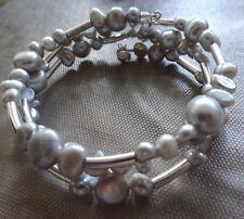 SILPADA BRACELET Wide Freshwater Gray Pearl & Sterling Silver Wrap CLASSIC B2184