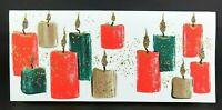 Vintage Hallmark Slim Jims Mica Gold Glittered Candles Christmas Card, Unused