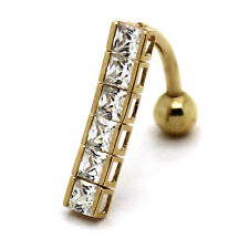 14K Yellow Gold Reverse Navel Ring 14G x 7/16 in. with bezel square CZ