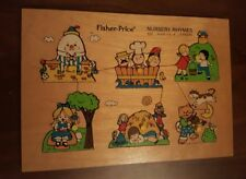 Vtg Fisher Price Nursery Rhymes Wooden Peg Puzzle Toddler 2-5 yrs 6 Pieces #510