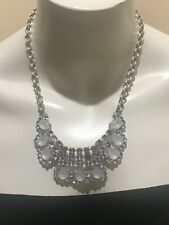 """Abercrombie & Fitch A & F Statement Bib Necklace Clear  Rhinestones 20"""" Long"""