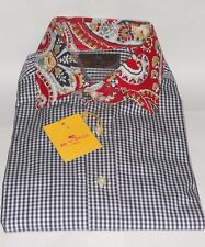 ETRO Milan Shirt  Navy Gingham Check with Red Paisley Collar Size 40 (L)