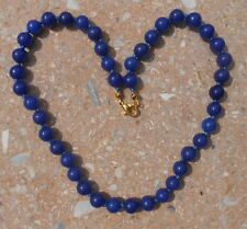 """BLUE JADE BEADED NECKLACE 16 1/2""""L. 18K GOLD PLATED."""