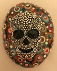 Hand Painted Rock Dot Painting Sugar Skull Paperweight Decoration Gift Item