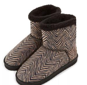 NWOB Vera Bradley Zebra Print Cozy Booties 15346-713M - Medium 7-8
