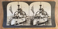 U.S. Battleship Kentucky 3/4 Stern – William H. Rau – Stereoview Slide – Vintage