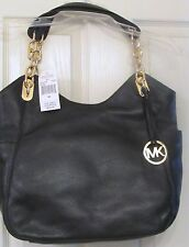 MICHAEL KORS LILLY~LARGE~BLACK PEBBLE LEATHER~GOLD ACCENT HARDWARE~NEW W/TAGS~