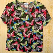 SB Scrubs womens scrub top Size XS Butterflies Nurse Doctor Pockets