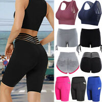 Women High Waist Yoga Shorts Ruched Sports Gym Fitness Workout Push Up Hot Pants