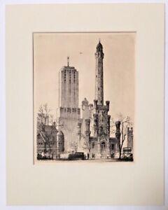 Leon Rene Pescheret (1892-1961) Etching Chicago Water Tower 1932, New Mat