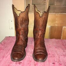 VTG NOCONA 9.5D leather western Cowboy boots, russet,ornate/scalloped collar