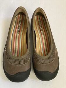 Keen Cush Women's Brown Leather Slip On Casual Loafers Shoes Sandals Size 9.5