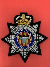 More details for northumbria police blazer badge nhp hand embroidered bullion & wire blazer badge