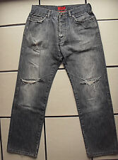 HUGO BOSS angesagte distressed Jeans Hose helles Blau Denim Zierrisse 32/L32