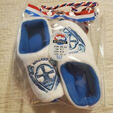 Dutch Tulip Delft Blue Holland Wooden Shoes Slippers Girls Size 6-9  NEW NIP