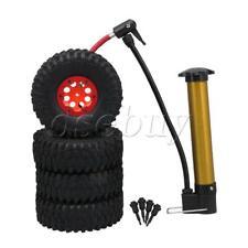 "4pcs RC1:10 1.9"" Rock Crawler Inflatable Tires Tyre & Red Beadlock Wheel Rim"