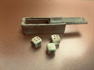 Antique Miniature Bone Dice in Wooden Box Suitable French Fashion or Bebe