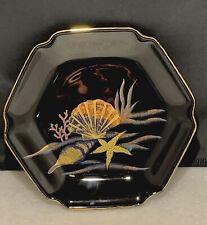 Otagiri Lacquerware Black Gold Sea Shells Hexagon Trinket Tray Candy Plate Dish