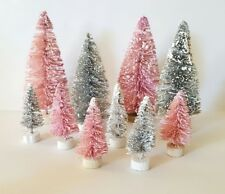 Lot 10 Mini Pink & Silver Grey Mix Miniature Sisal Bottle Brush Christmas Trees