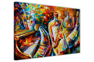 AT54378D ABSTRACT BOTTLE JAZZ MUSICIANS BY LEONID AFREMOV FRAMED CANVAS WALL ART