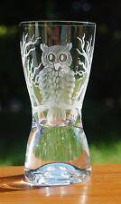 Schöne Schnapsglas mit Eulen Uhu Kautz Owl Echt Handgeschliffen