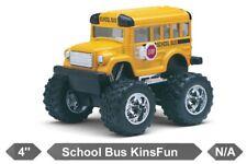 "4"" Kinsfun Monster Funny Big Wheel School Bus Diecast Model Toy Pull Action Kids"